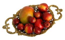 Pièce maîtresse en bronze avec le fruit image stock