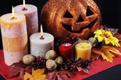 Pièce maîtresse heureuse de table de partie de Halloween Photos libres de droits