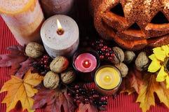 Pièce maîtresse heureuse de table de partie de Halloween - plan rapproché Images stock