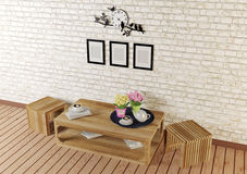 Pièce minimale de style avec les meubles conçus simples sur la vue supérieure Photos libres de droits
