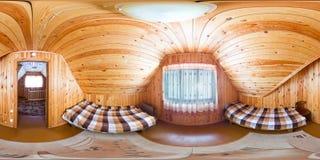 Pièce pour deux personnes dans une pension en bois de maison, jumelle Image libre de droits