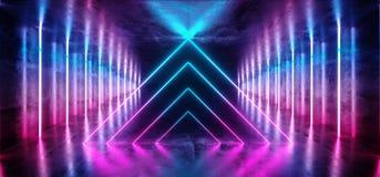 Pièce rose bleue rougeoyante au néon abstraite Hall Corridor de pourpre vibrant brillant réfléchi sombre étranger de vaisseau spa illustration libre de droits