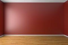 Pièce rouge vide avec le plancher de parquet Image stock