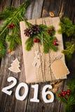 Pièce 2016 sur le fond en bois Photographie stock