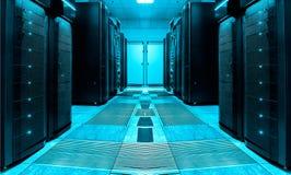 Pièce symétrique de serveur avec des rangées des unités centrales au centre de traitement des données moderne, conception futuris image libre de droits