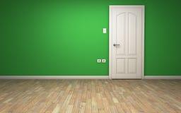 Pièce verte avec la porte blanche Images libres de droits
