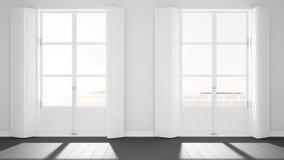 Pièce vide élégante avec le plan rapproché panoramique de fenêtres, volets classiques, balcon classique Paysage de mer, roches de illustration de vecteur