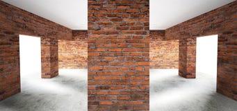 Pièce vide avec de vieux murs de briques, grandes fenêtres, chambre noire, lumière du soleil illustration libre de droits