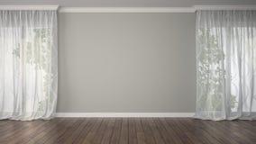 Pièce vide avec deux rideaux Photographie stock libre de droits