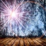 Pièce vide avec l'étoile légère et les rayons légers Photos libres de droits