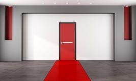 Pièce vide avec la porte fermée rouge Photo stock