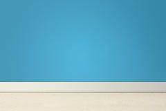 Pièce vide avec le mur et le linoléum bleus Photographie stock libre de droits