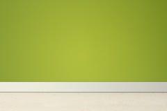 Pièce vide avec le mur et le linoléum verts Images libres de droits