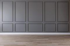 Pièce vide avec le mur gris-foncé, les bâtis et le plancher en bois illustration de vecteur
