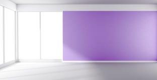 Pièce vide avec le mur pourpre et la fenêtre panoramique Photos stock