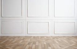Pièce vide avec le panneautage en bois blanc Images libres de droits