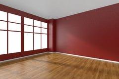 Pièce vide avec le plancher de parquet, les murs rouges texturisés et la fenêtre Photos libres de droits