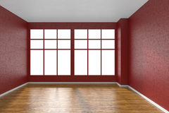 Pièce vide avec le plancher de parquet, les murs rouges texturisés et la grande fenêtre Photos stock