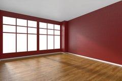 Pièce vide avec le plancher de parquet, les murs texturisés rouges et la grande fenêtre Image stock