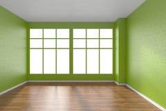 Pièce vide avec le plancher de parquet, les murs verts texturisés et le grand vent Photos libres de droits