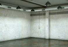 Pièce vide avec les murs blancs et le plancher en béton Images libres de droits