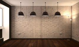 Pièce vide avec les murs de briques et les lumières blancs Scène de jour Images stock