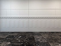 Pièce vide avec un plancher et un panneautage de marbre Photo libre de droits
