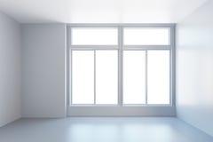 Pièce vide blanche avec la fenêtre Photographie stock libre de droits