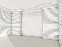 Pièce vide blanche avec le parquet 3d Image libre de droits