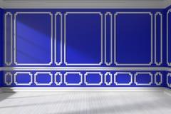 Pièce vide bleue avec le bâti et le plancher de parquet blanc Photo libre de droits