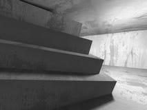 Pièce vide concrète sombre Conception moderne d'architecture Image libre de droits