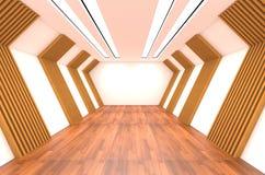 Pièce vide décorée de l'étage en bois de mur et en bois Photos stock