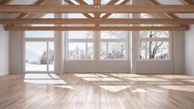 Pièce vide dans la maison de luxe d'eco, le plancher de parquet et le toit en bois TR illustration stock