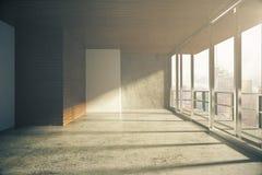 Pièce vide de style moderne de grenier avec des fenêtres dans le plancher au lever de soleil illustration de vecteur