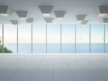 Pièce vide de vue de mer, intérieur blanc moderne de maison de luxe photos stock
