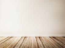 Pièce vide du plancher blanc de mur et en bois Images stock