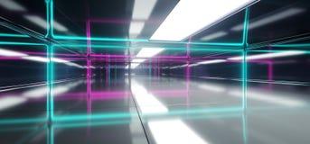 Pièce vide futuriste de Sci fi avec L rougeoyant au néon bleu et pourpre illustration de vecteur
