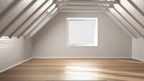 Pièce vide, grenier, grenier, plancher en bois de parquet et plafond en bois illustration stock