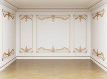 Pièce vide intérieure classique Murs avec les bâtis et la corniche ornated illustration stock