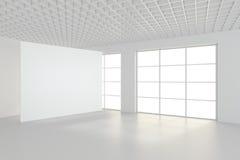 Pièce vide moderne avec le panneau d'affichage blanc 3d rendent Photo libre de droits