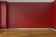 Pièce vide rouge avec le plancher de parquet Images libres de droits