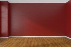 Pièce vide rouge avec le plancher de parquet sombre Photo libre de droits