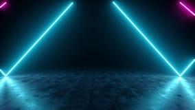 Pièce vide sombre futuriste de Sci fi avec la ligne rougeoyante tubes de néon bleu et pourpre illustration de vecteur