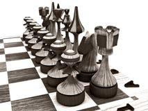 Pièces d'échecs à bord Illustration Libre de Droits