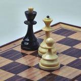 Pièces d'échecs blanches et noires sur un fond clair images stock