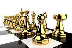 Pièces d'échecs d'or illustration libre de droits