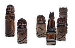 Pièces d'échecs en bois Photographie stock