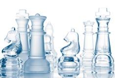 Pièces d'échecs en verre transparentes Photo libre de droits