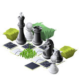 Pièces d'échecs et usines, composition décorative Photographie stock libre de droits