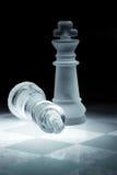Pièces d'échecs faites de glace Photos libres de droits